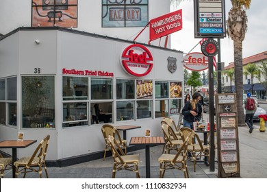 Pasadena, CA: May 20, 2018: Outdoor area of Old Town Pasadena, California. Old Town Pasadena was listed on the National Register of Historic Places in 1983.