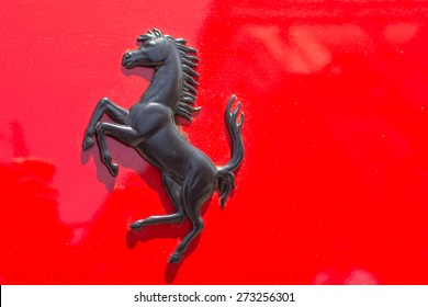 Pasadena, CA - USA - April 26, 2015: Ferrari logo car on display at the 8th Annual Ferrari Concorso car event