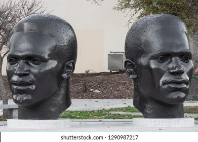 PASADENA, CA, USA - JANUARY 21, 2019: Jackie and Mack Robinson Memorial on 100 N Garfield Ave.