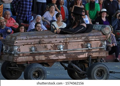 """Pasadena, CA / USA - Nov. 24, 2019: A custom coffin car is shown at the Doo Dah Parade, which began in 1978 and has been billed as """"an irreverent alternative to the Rose Parade."""""""