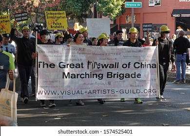 Pasadena, CA / USA - Nov. 24, 2019: The Great Firewall of China Marching Bridage of the Visual Artists Guild is shown at the 42nd annaul Pasadena Doo Dah Parade. For editorial uses only.