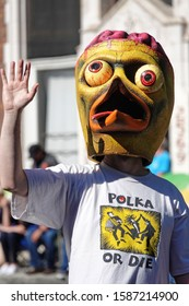 Pasadena, CA / USA - Nov. 24, 2019: The character Bird Brain from the Southern California punk rock band Radioactive Chicken Heads is shown at the 42nd annual Pasadena Doo Dah Parade.