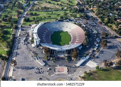 Pasadena, California, USA - April 12, 2017:  Aerial view of the historic Rose Bowl Stadium near Los Angeles.