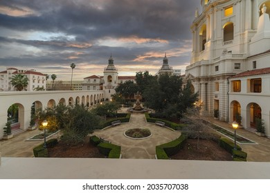 Pasadena, California, USA - February 18, 2017: this image shows a dawn view, looking south, of the historic Pasadena City Hall in Los Angeles County.