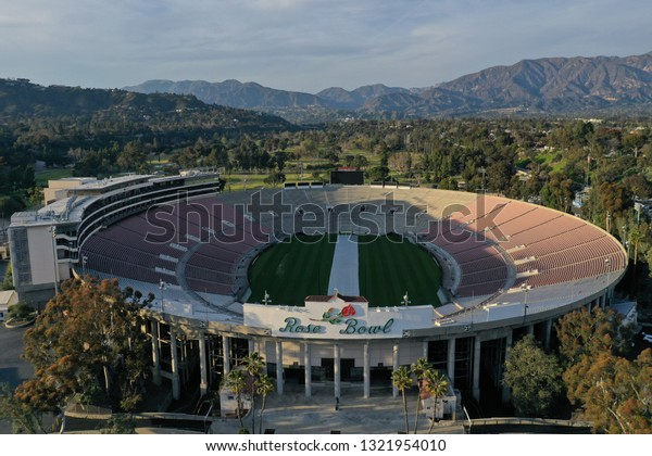 Pasadena, California / USA - February 24, 2019: Lovely drone aerial photograph of the Rose Bowl in Pasadena, California