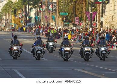 PASADENA, CALIFORNIA, USA - JANUARY 1, 2018: The Rose Parade stars early in the morning in Pasadena.