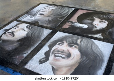 Pasadena, California, USA - June 21, 2009: this image shows a chalk art rendition of album cover Let it Be by The Beatles.