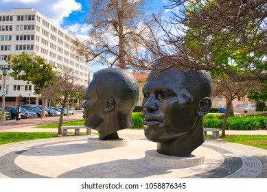 PASADENA, CALIFORNIA, USA - MARCH 2018: Pasadena Robinson Memorial. Baseball hero Jackie Robinson and his brother, Olympic great Mack Robinson, are memorialized in two monumental bronze portrait heads