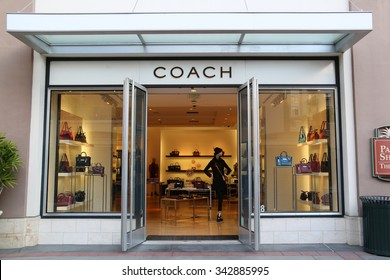 Pasadena, California, USA - November 15, 2015: Coach, Inc., based in New York City, is a luxury fashion company known for accessories for women and men.