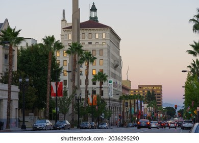 Pasadena, California, USA - September 4, 2021: this image shows Colorado Boulevard looking east. Prominent in the foreground is the First Trust Building and Garage.