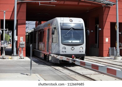 PASADENA, CALIFORNIA, USA - SEPTEMBER 7: A Gold Line train leaves the Del Mar Station heading for Downtown Los Angeles on September 7, 2012.  The rail line will extend out to Azusa by 2015.