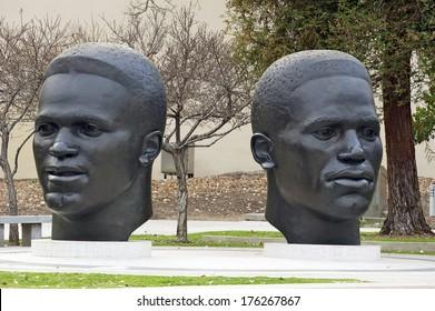 PASADENA, CALIFORNIA/USA - JANUARY 27, 2014: Pasadena pays tribute to brothers Jackie and Mack Robinson with sculptures at Centennial Square in Pasadena. January 27, 2014, Pasadena, California, USA.
