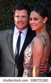 Pasadena, CA/USA - April 27, 2018: Actress Vanessa Lachey and husband singer Nick Lacey at the 2018 Daytime Creative Arts Emmy Awards.