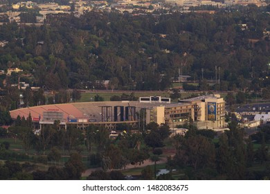 PASADENA, CA/USA - AUGUST 18, 2019: image showing the Rose Bowl at dusk preparing for an upcoming Rolling Stones concert.