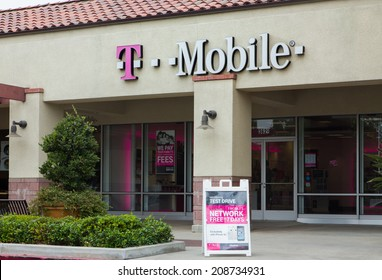 PASADENA, CA/USA - AUGUST 2, 2014: T-Mobile Store exterior. T-Mobile operates cellular networks in Europe, the United States, Puerto Rico, and the U.S. Virgin Islands.