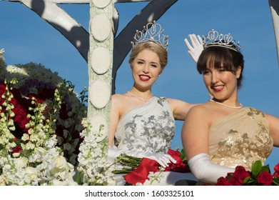 PASADENA, CA/USA - JANUARY 1, 2020: The Queen of the Rose Parade shown during the parade.