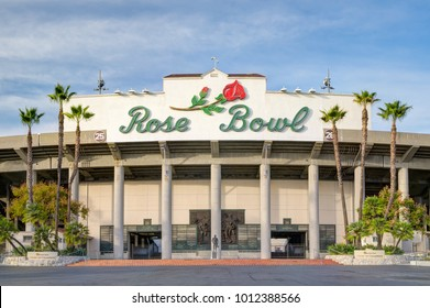 PASADENA, CA/USA - JANUARY 7, 2018: Rose Bowl stadium and logo. The Rose Bowl is a United States outdoor athletic stadium.