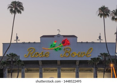 PASADENA, CA/USA - JULY 13, 2016: neon sign above the entrance of the world famous Rose Bowl Stadium.