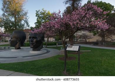 PASADENA, CA/USA - MARCH 22, 2017: Jackie and Mack Robinson Memorial on 100 N Garfield Ave.