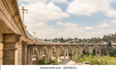 PASADENA, CA/USA - May 19, 2015: Historic Colorado Street Bridge over the Arroyo Seco canyon, on Route 66. National Register of Historic Places