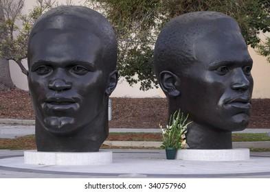 PASADENA, CA/USA - NOVEMBER 18 2015: Jackie and Mack Robinson Memorial on 100 N Garfield Ave.