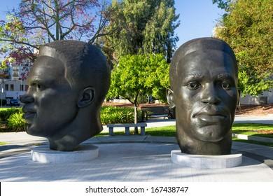 PASADENA, CA/USA - OCTOBER 1: Jackie and Mack Robinson statue near Pasadena City Hall honor local famed athletes Jackie and Mack Robinson. October 1, 2013.