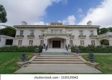 PASADENA, CA/USA - OCTOBER 18, 2019:  image showing the landmark Wrigley Mansion.
