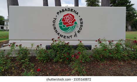 PASADENA, CA/USA - OCTOBER 18, 2019: image showing a sign with the Rose Parade Logo in front of the Wrigley Mansion.