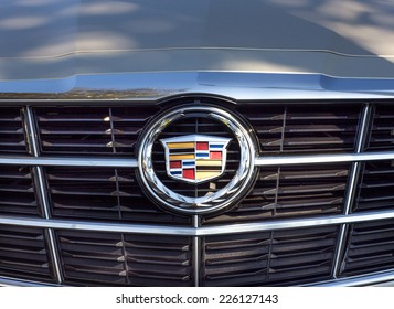 PASADENA, CA/USA - OCTOBER 25, 2014: Cadillac grille and logo. Cadillac is a division General Motors Company that markets luxury vehicles worldwide.