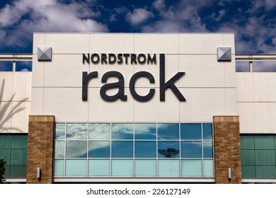 PASADENA, CA/USA - OCTOBER 25, 2014:  Nordstrom Rack retail store exterior. Nordstrom, Inc. is an American upscale fashion retailer.