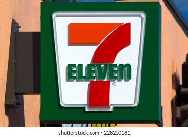 PASADENA, CA/USA - OCTOBER 25, 2014: 7-Eleven store exterior and sign. 7-Eleven is the world's largest operator and franchisor of convenience stores with more than 50,000 outlets.