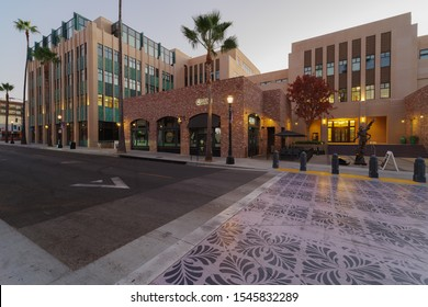 PASADENA, CA/USA - OCTOBER 28, 2019: image showing mdern building on El Molino Ave near the Playhouse District.