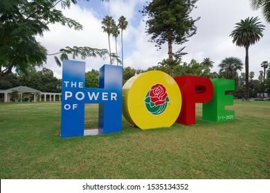 PASADENA, CA/USA - OCTOBER 5, 2019:  Image of the Rose Parade Tournament 2020 Theme, HOPE, shown at the Wrigley Mansion.