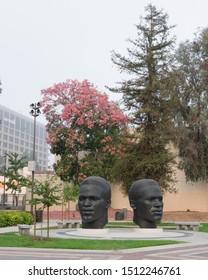 PASADENA, CA/USA - SEPTEMBER 23, 2019: Jackie and Mack Robinson Memorial at the Civic Center..