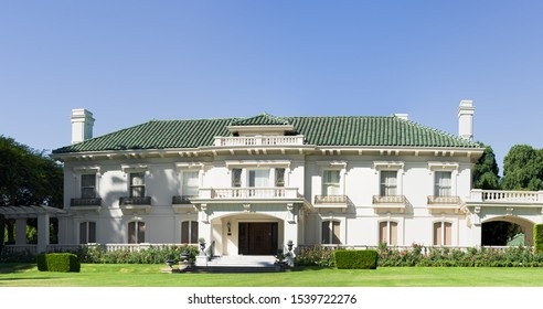 PASADENA, CA/USA - SEPTEMBER 5, 2019:  image showing the landmark Wrigley Mansion or Tournament House, permanent headquarters for the Tournament of Roses.
