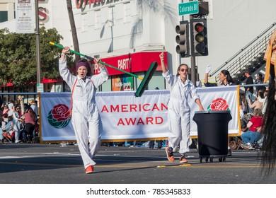 Pasadena,  JAN 1: Volunteer cleaner in the famous Rose Parade - America's New Year Celebration on JAN 1, 2017 at Pasadena, California, United States