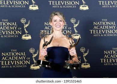 PASADENA - May 3: Samantha Brown in the press room at the 46th Daytime Creative Arts Emmy Awards Gala at the Pasadena Civic Center on May 3, 2019 in Pasadena, CA