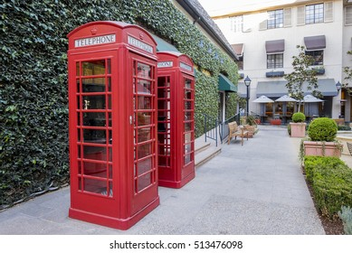 Pasadena, NOV 10: Red classical telephone booth behind the Williams Sonoma on NOV 10, 2016 at Pasadena, California