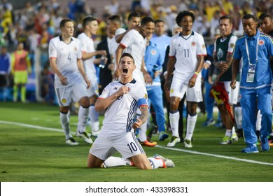 Pasadena, USA - June 07, 2016: James Rodriguez celebrates a goal scored during Copa America Centenario match Colombia vs Paraguay at the Rose Bowl Stadium.
