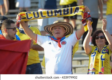 Pasadena, USA - June 07, 2016: Colombia national team  fan during Copa America Centenario match Colombia vs Paraguay at the Rose Bowl Stadium.