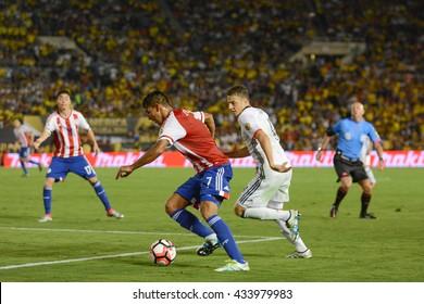 Pasadena, USA - June 07, 2016: Jorge Benitez during Copa America Centenario match Colombia vs Paraguay at the Rose Bowl Stadium.