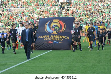 Pasadena, USA - June 09, 2016: Entry of the national soccer teams during Copa America Centenario match Mexico vs Jamaica at the Rose Bowl Stadium.