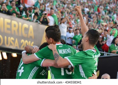 Pasadena, USA - June 09, 2016: Mexican soccer players celebrating goal during Copa America Centenario match Mexico vs Jamaica at the Rose Bowl Stadium.
