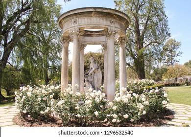 PASADENA, USA-APR. 18, 2012:  Beautiful Rose garden scene on the grounds of the Huntington Museum.