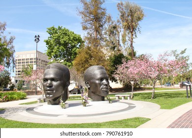 PASADENA, USA-APR. 18, 2012:  Situated across from city hall is the Jackie and Mack Robinson Memorial created in 1997 with the collaboration of Ralph Hemlock and John Outerbridge.