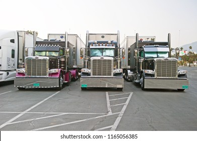 PASADENA/CALIFORNIA - AUG. 16, 2018: Big rig truck & trailer parked in the parking lot of the Rose Bowl Stadium in Pasadena, California USA