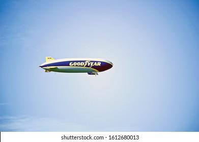 "PASADENA/CALIFORNIA - JAN. 1, 2020:  Goodyear blimp ""Wingfoot Three"" flies over the Rosebowl stadium just before the New Years Day college football game begins. Pasadena, California USA"
