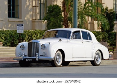 PASADENA/CALIFORNIA - JANUARY 15, 2017: A vintage model Bentley, a symbol of luxury and opulence parked along the road in Pasadena, California USA