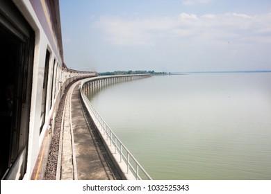 pasak jolasid dam view from train ,Lopburi thailand