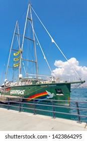 "Pasalimani, Istanbul - May 26, 2019 : Greenpeace's sailing ship ""Rainbow Warrior"" in the port of Uskudar. TURKEY"